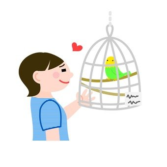 A woman looking at a parakeet