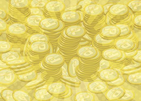 たくさんのコイン2(キラキラ控えめ)