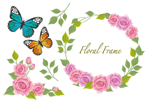 Roses and butterfly frame material