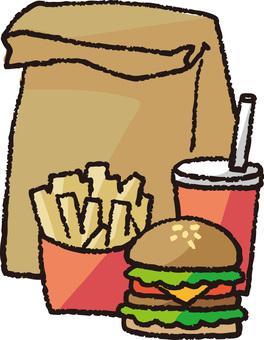 Hamburger set (takeout)