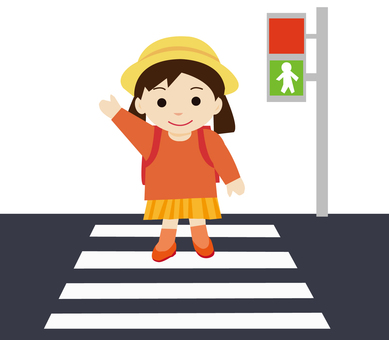 Elementary school girls crossing a pedestrian crossing
