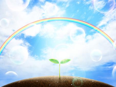 Wallpaper frame of blue sky, Futaba, Rainbow, Soap bubble