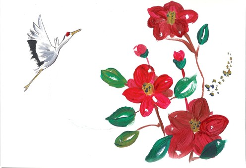 Crane and camellia