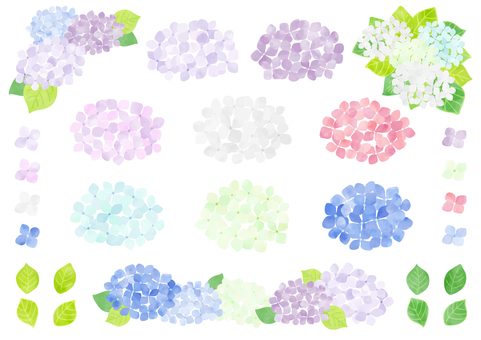 Hand-painted hydrangea parts set