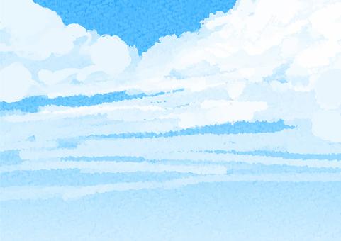 수채화 푸른 하늘