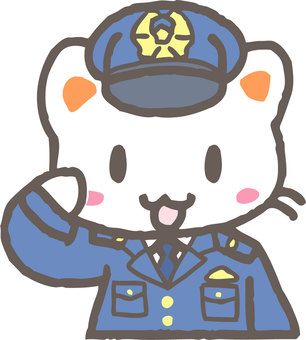 Police Officer Cat (Salute)