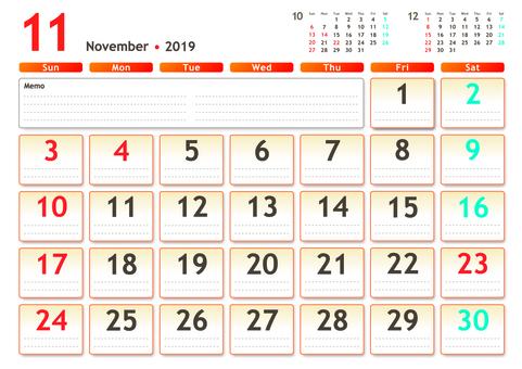 Calendar 2019 November