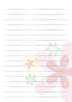 Letter Paper Vertical White Flower