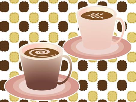 커피 컵 및 쿠키 배경 화면