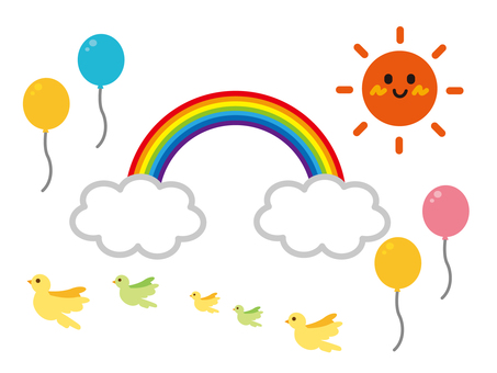 Sun Rainbow Birds Balloon