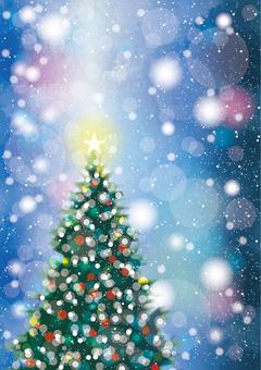 クリスマスツリーと雪1縦 青