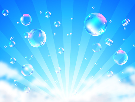 Soap bubble floating in blue sky and radiation background 01