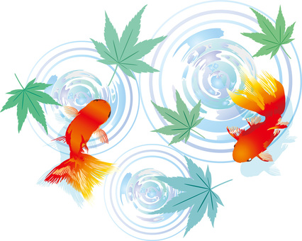Green red leaf goldfish spring early summer May June July August water surface background