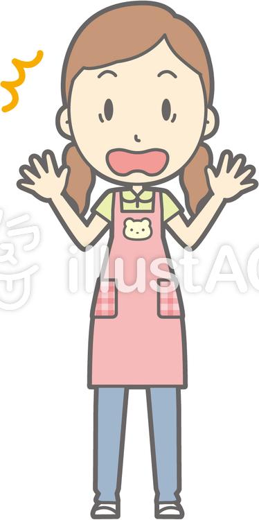 保育士女性-ビックリ-全身のイラスト