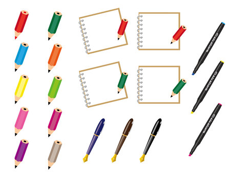 Set of pencil and memo pad and pen