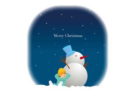 Snowman Winter Starry Sky