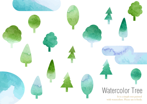 Watercolor pass material 011 tree illustration