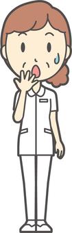 中年女護士白色外套-265-全身