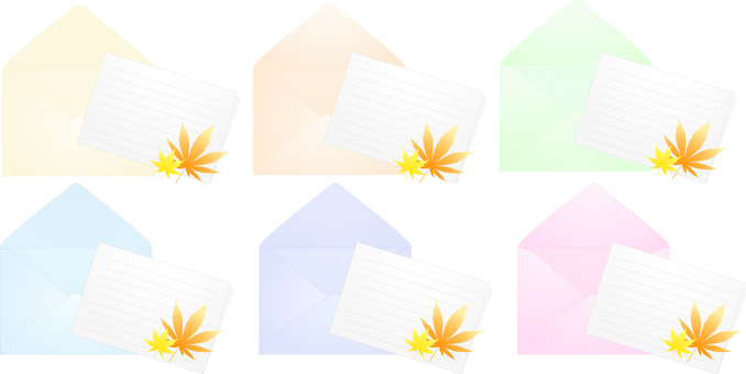 ai Autumn leaves Simple mail · Stationery 6 point set
