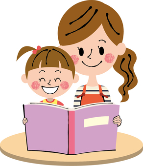 Parent and child girl reading desk light brown smile
