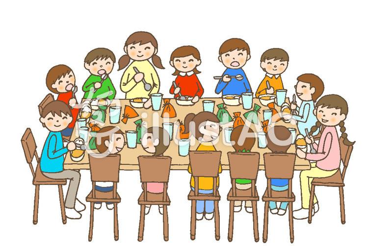 食事会 14 子供達 いす 飾り無イラスト No 591607無料イラスト