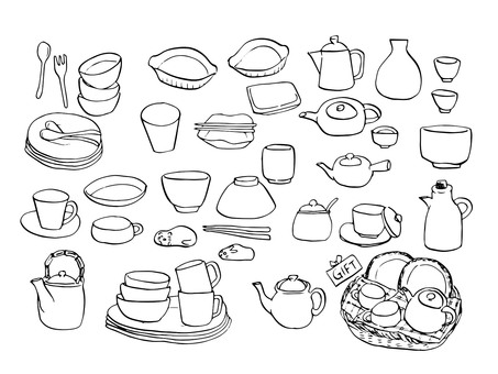 Dishware set drawing