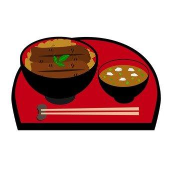 鰻魚和米飯和大醬湯碗