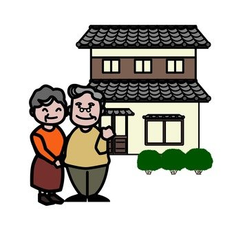 Elder couple and Japanese houses