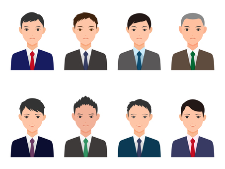 Various male icons of suit