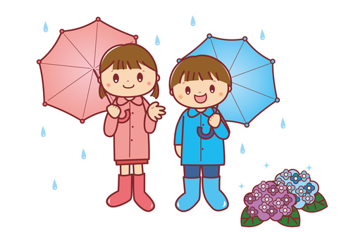 傘をさす子供たち2
