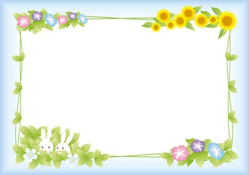 Rabbit couple's summer frame