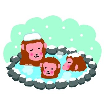 Parent and child of a monkey who enters a hot spring