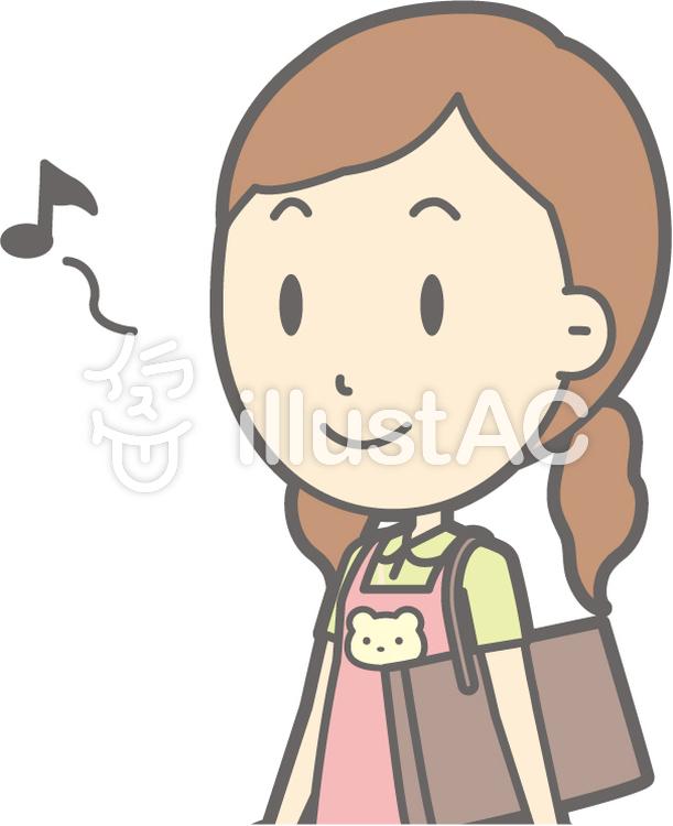 保育士女性-歩く笑顔-バストのイラスト
