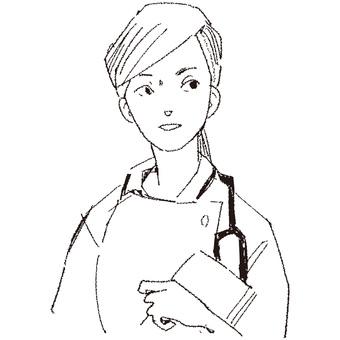 Nurse drawn with a pencil