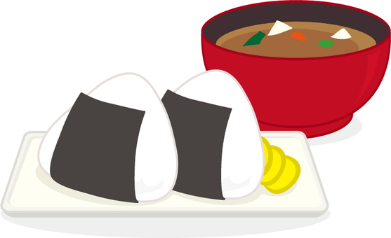 Rice ball and miso soup
