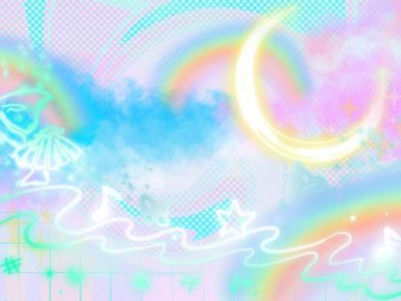 Rainbow dream cute moon