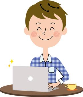 Smile computer male desk brown