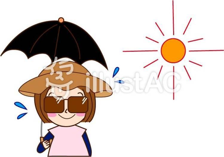 日焼け対策(女性)のイラスト