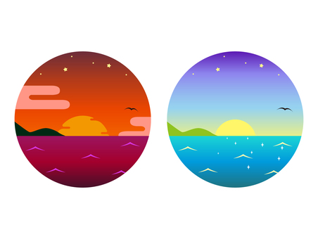 Sunset and dawn icon set