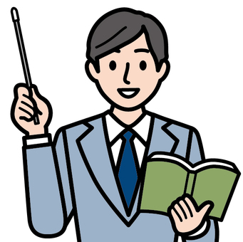 Male with teacher · textbook and guidance stick