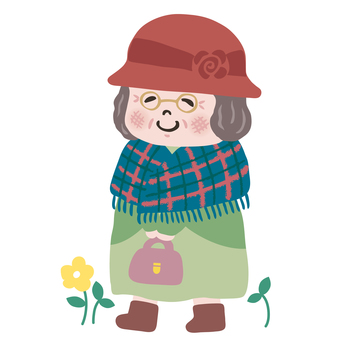Illustration of a fashionable and cute grandmother