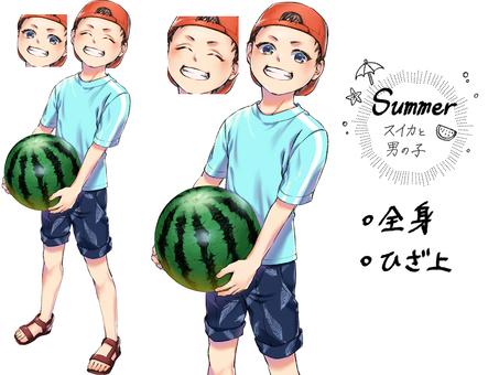 Watermelon and boy