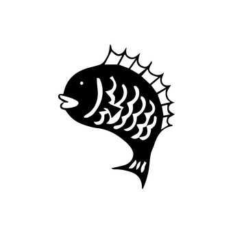 Sea bream (printmaking style) monochrome