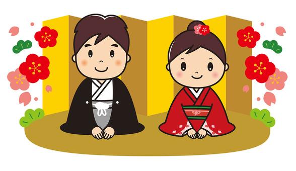 Kimono in Kimono Greeting Male and female pair background