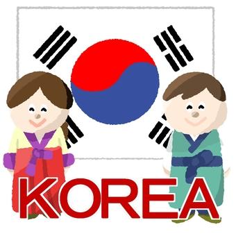 Korean flag and man and woman