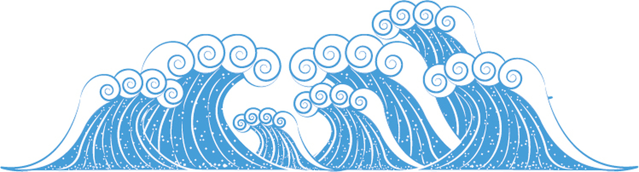 A Japanese-style simple wave illustration