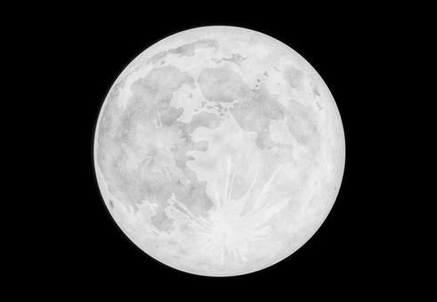 夜空に浮かぶモノトーンな満月
