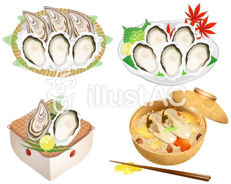 牡蠣アイコンセットのイラスト