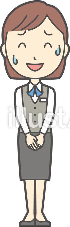 事務員ボブ女性-184-全身のイラスト