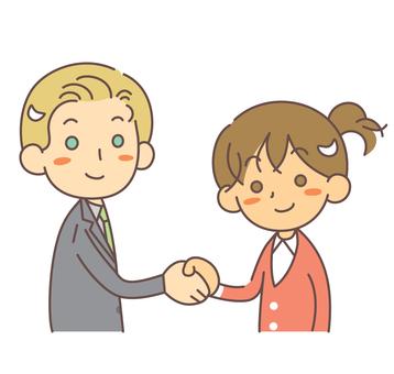握手外國男人和日本女人